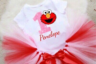 Elmo Sesame Street Red Pink 3rd Third Birthday Girl Headband Tutu Shirt Outfit