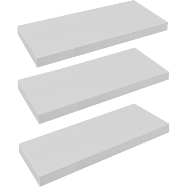 Pack of 3 Floating Wooden Wall Shelves Shelf Wall Storage 60cm - White