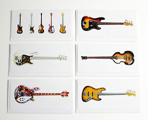 Famous bass guitars pack of 6 greeting cards dl size ebay image is loading famous bass guitars pack of 6 greeting cards m4hsunfo