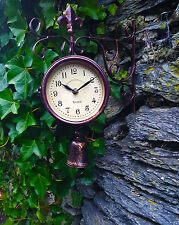 Outdoor indoor station Clock double sided Thermometer Garden Wall with Bell
