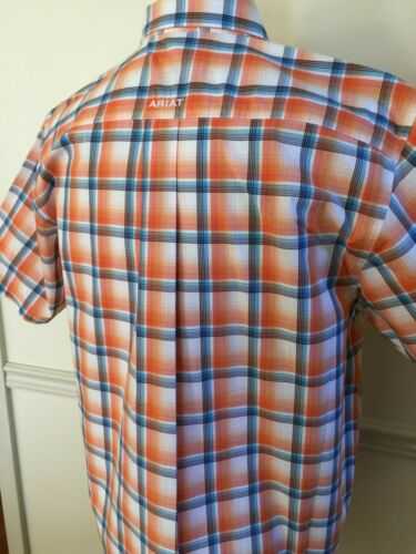 NWT Men ARIAT PRO Short Sleeve S//S Button Shirt NAVAJO Mango Slice Orange Plaid