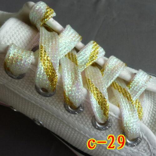 "White Gold Flat Glitter Stunning Unisex Shoelace Shoe Boot Lace String 115cm 45/"""
