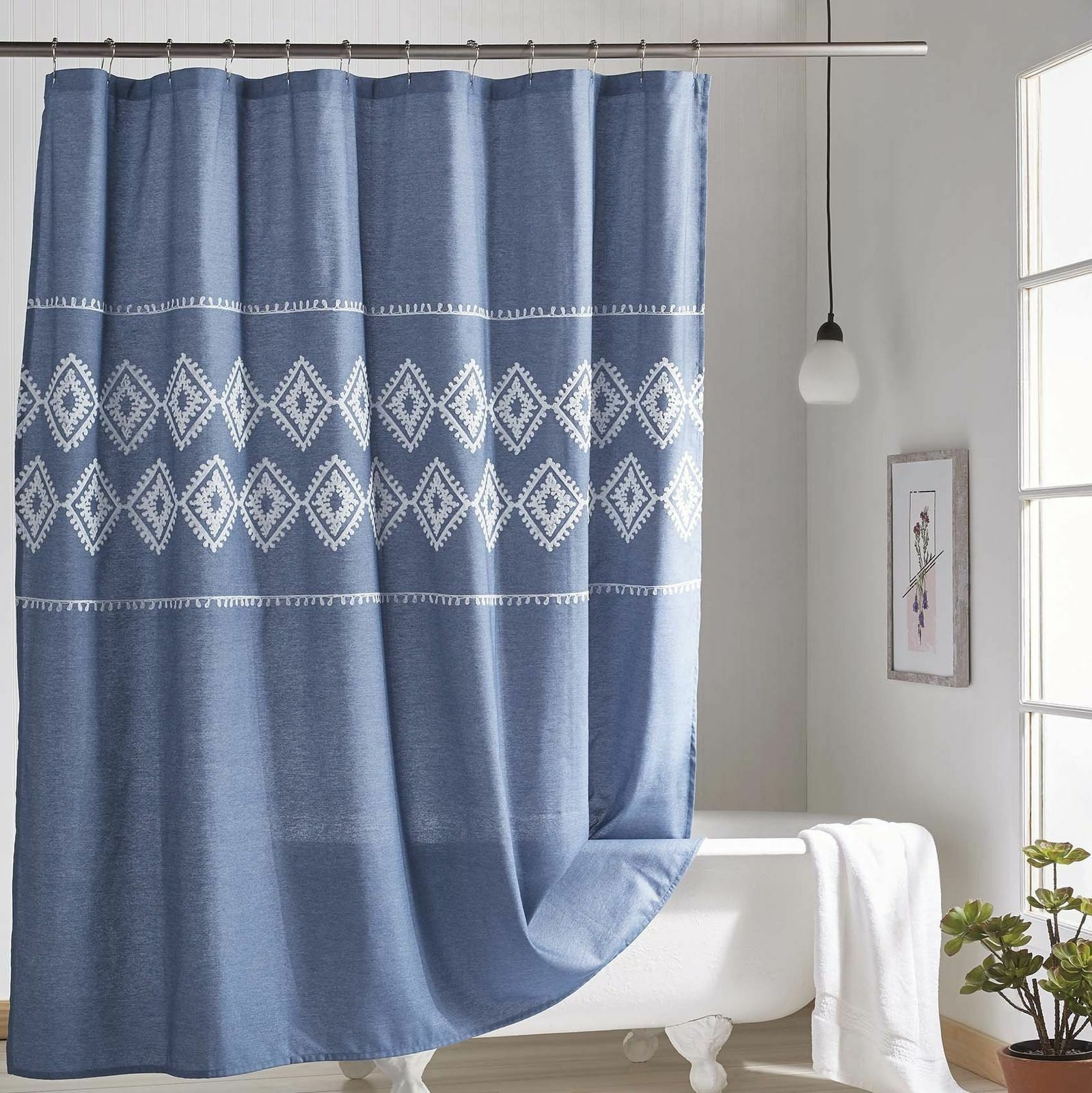 Bungalow Rosa Charley Chambray Geo Single Shower Curtain 2e738b