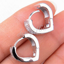 925 Sterling Silver Mirco Pave Crystal Heart-shaped 14mm Small Hoop Earring H989