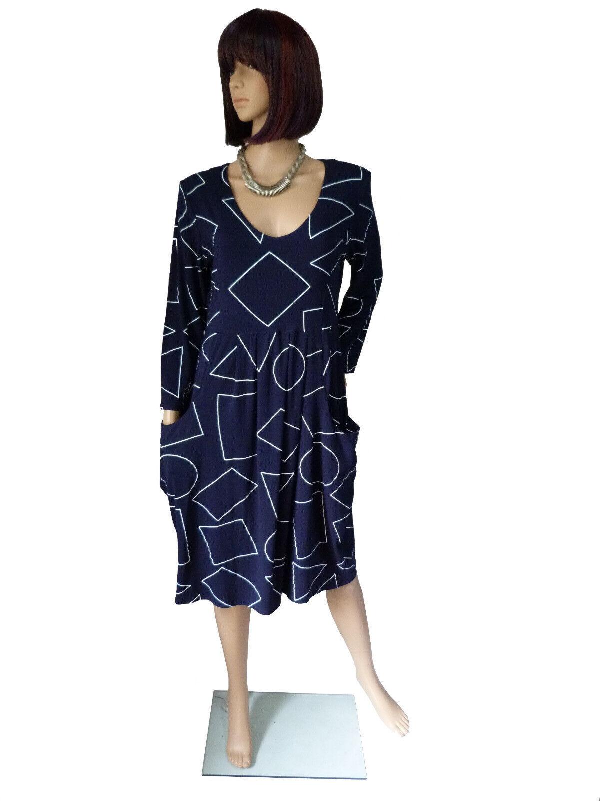 M L XL XXL XXXL  NEW JERSEY Feminines Kleid Jerseykleid figurfreundlich Marine