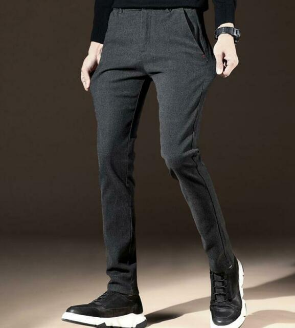 Mens Cotton Blend Carrot Pants Slim Fit Korean Casual Trousers Stretchy Fashion