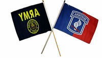 12x18 12x18 Wholesale Combo Army Crest & 173rd Airborne Red Blue Stick Flag