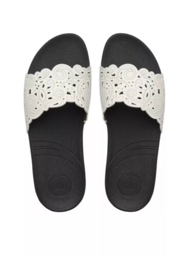 Leather zeppa Eu Real Urban Sandali 7 con Slides Uk Fitflop 41 Bianco Flora qFPO88I