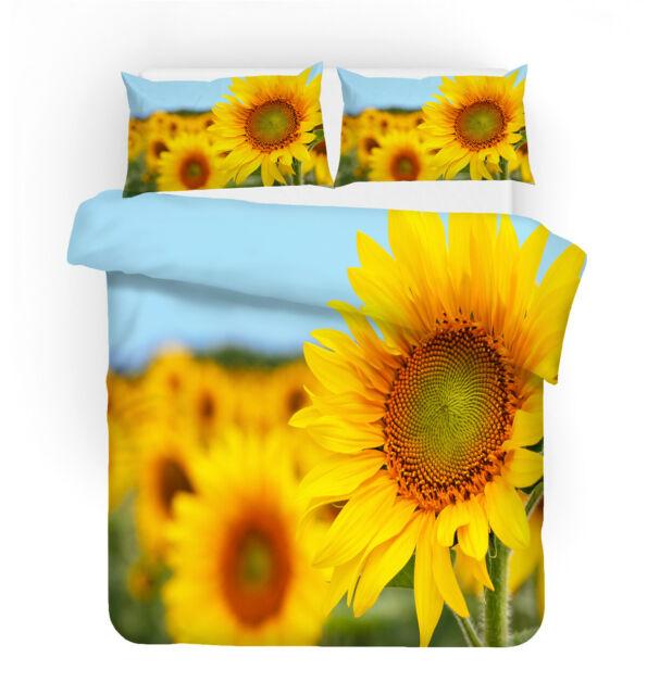 3d Sunshine Sunflowers Duvet Cover Bedding Set Pillow Case Comforter Quilt Cover For Sale Online
