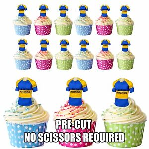 Image Is Loading PRECUT Leeds Rhinos Rugby Shirts Edible Cupcake Toppers