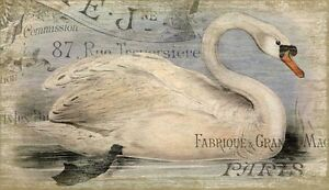 French Swan Wood Sign - 15x26