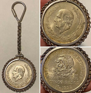 Vintage-1952-MEXICO-5-PESOS-Silver-Coin-in-STERLING-Screw-Top-Medallion-Keychain