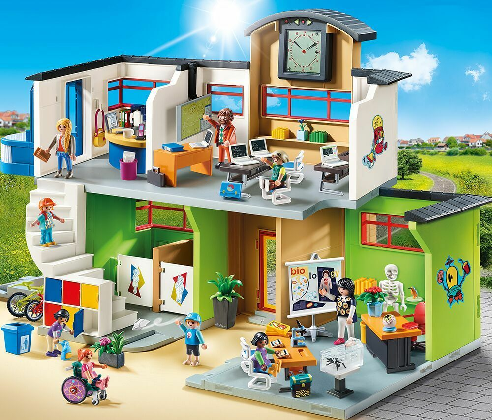 PLAYMOBIL® PLAYMOBIL® PLAYMOBIL® 9453 Furnished School Building - NEW 2018 - S&H FREE WORLDWIDE c2d12a