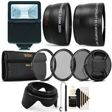 55mm Complete Lens Accessory Kit + Slave Flash for Nikon D5500, D3300, D3400
