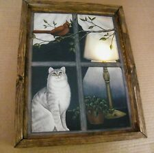 Framed Cat Kitten lighted LED  Lamp canvas art print Cats picture decor sign