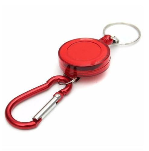 2Pcs//4Pcs Recoil Extendable 60cm Key Chain Ring Clip Pull Keyring Retracting