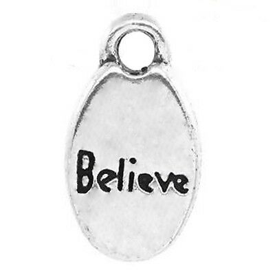 Word Charms BELIEVE Pendants Silver Love Awareness Jewelry Craft 15mm Lot of 20