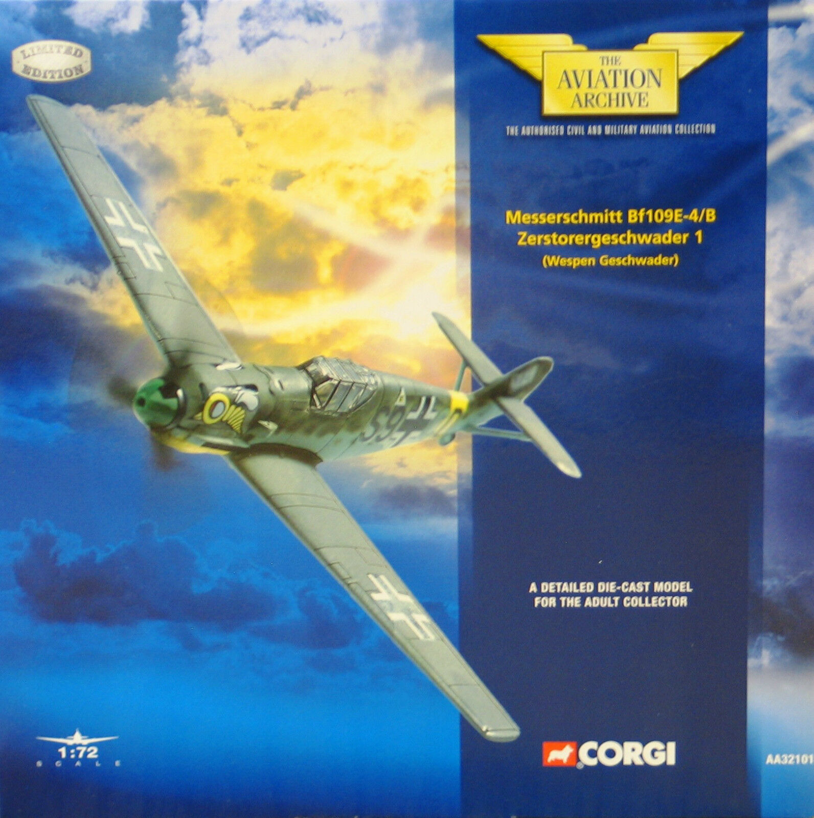 Corgi Aa32101 Bf109e-4   Caja Gruppenstab III   Skg 210 Wespen Geschwader