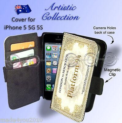 Apple iPhone 5 5G 5S Wallet Case HARRY POTTER Platform 9 3/4 Ticket Hogwarts 501