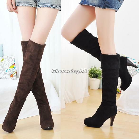 Sexy Women Over Knee Faux Suede Stretch Thigh High Slouchy high Heel Boots Shoes