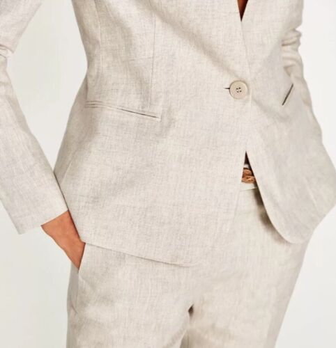Blazer Camel Xs Jacket Zara Størrelse Beige Uk Linen 100 Light 8 wfwnqgCX