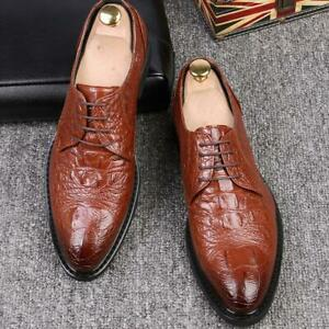 British-Mens-alligator-Leather-Lace-Up-Pointy-Toe-Dress-Formal-Casual-Shoes-New