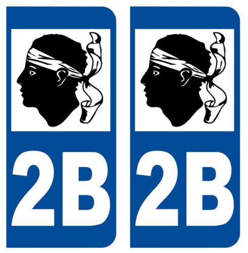 2 IMMATRICULATION 2B CORSE CORSICA BASTIA ILE DEPARTEMENT STICKER AUTOCOLLANT