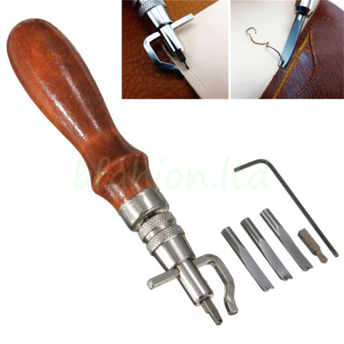 Pro Leather Craft Sewing Tool Kit Set Stitching Groover Beveler Punch Cutter