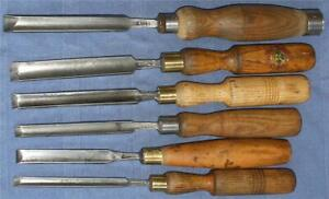 VINTAGE-CARPENTRY-TOOLS-SET-OF-6-X-PARING-GOUGE-CHISELS-ALL-DIFFERENT-MAKERS