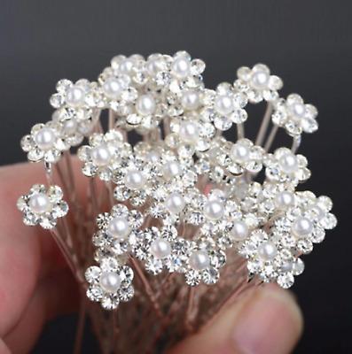 Bridal Hair Pins Crystal Cut Diamante Flower Slide Clips Grips for Wedding