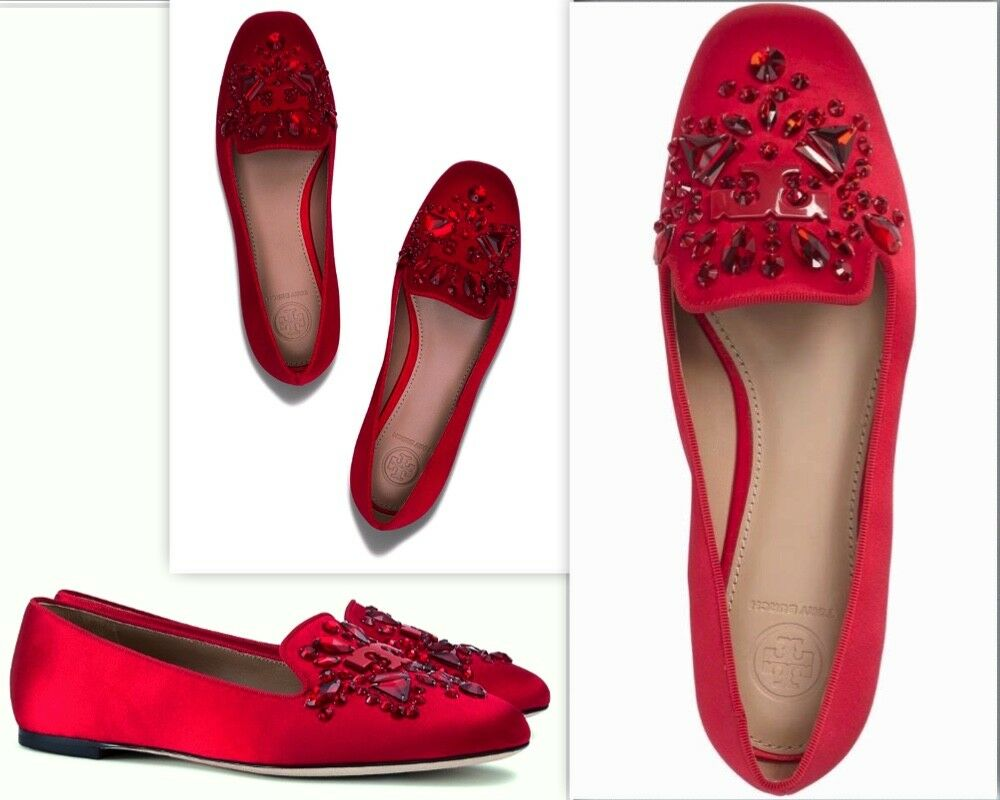 TORY BURCH Delphine Embellished Red Satin Leather Loafer shoes Sz 10.5M  325 NEW