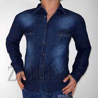 """ZAHIDA"" Herren Hemd Langarm Blue Blau Jeans Jeanshemd STEHKRAGEN M L XL XXL NEU"