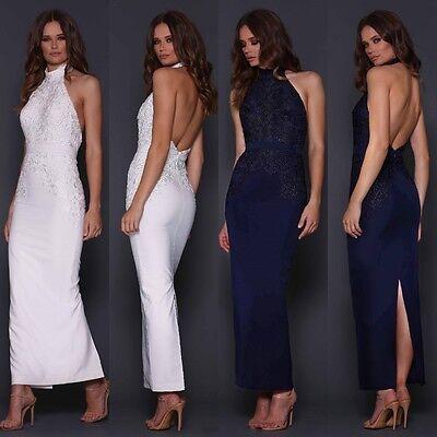 Designer Elle Zeitoune Navy Long Maxi Gown Halterneck Lace Backless Prom Dress