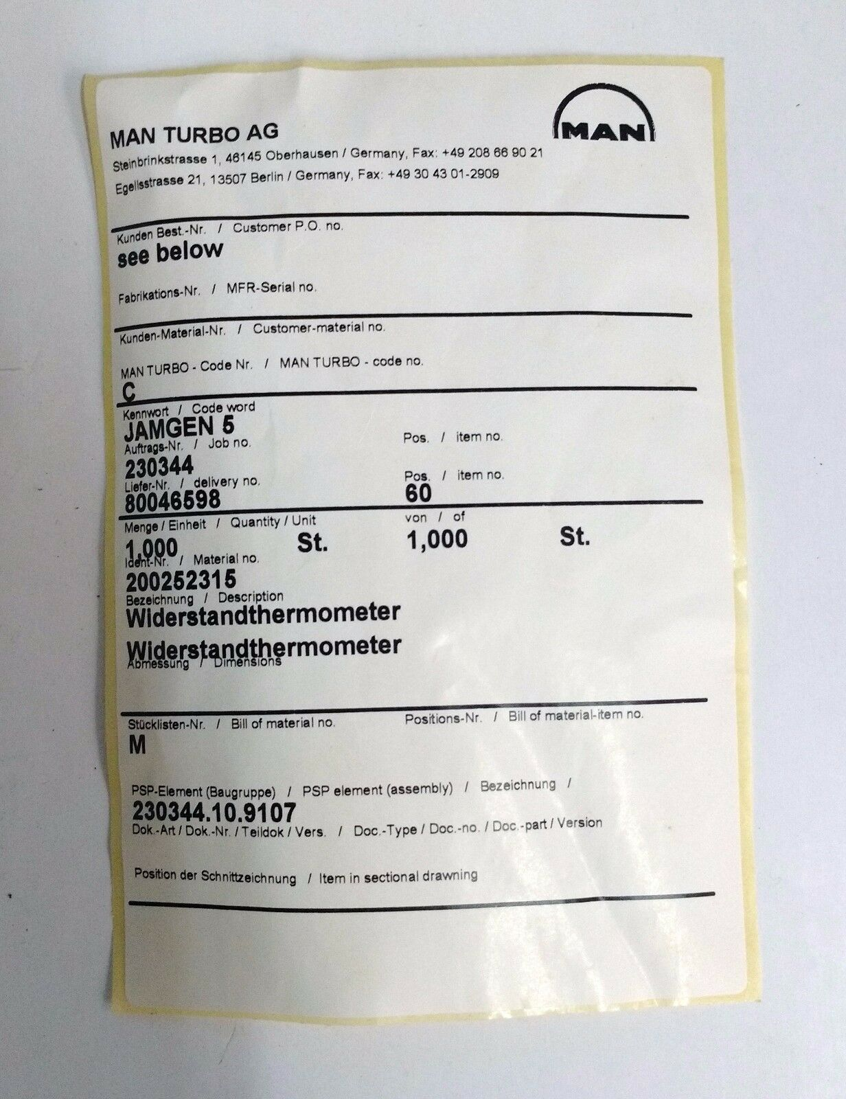 Rosemount 31.159.414 / Man Turbo AG 200252315 Resistance Thermometer ...