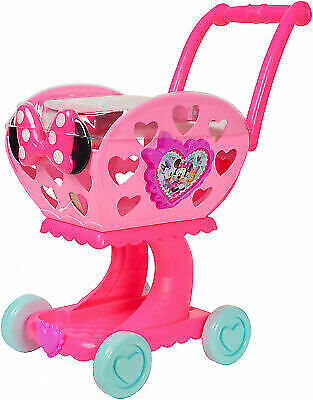 Disney Junior Minnie Mouse 2 in 1 Shopping Grocery Cart W Pretend Play Food for sale online | eBay