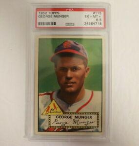 1952 Topps Baseball #115 George Munger St Louis Cardinals PSA 6.5
