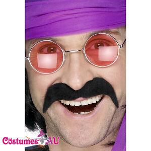 Black Seventies Tash 70s Handlebar Moustache Mexican Cop 60s Costume Accessories