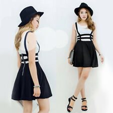 Cute Women Mini Skater Suspender Skirt Straps Hollow Retro High Waist Dress US