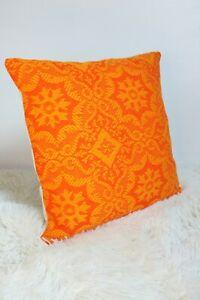 "Original Retro Fabric Cushion Cover 60s/70s 16x16"" Geometric Orange"