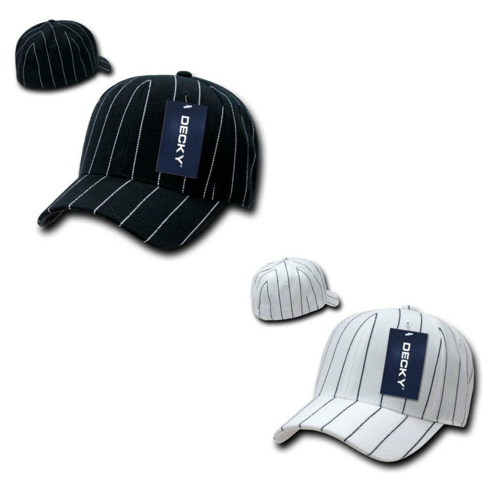 Decky Fitted Curved Bill Pin Caps Striped Pinstriped Baseball Hats Caps Pin 783a9c