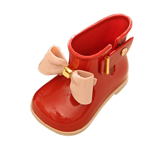 Infant Baby Toddler Kid Girls Non-Slip Wellington Welly Boots Bowknot Rain Shoes
