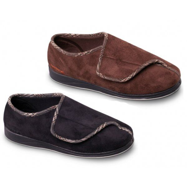 Padders CHRIS Mens Microsuede Wide (G Fit) Memory Foam Touch Close Full Slippers