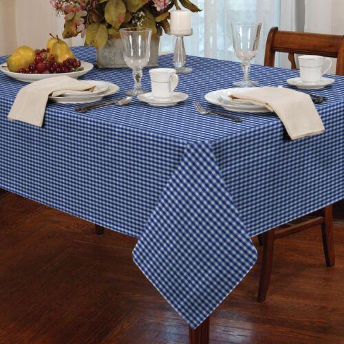 "GINGHAM CHECK BLUE WHITE RECTANGULAR 54X72"" 137X183CM TABLE CLOTH"
