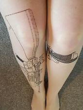 Machine Gun Tights Nude Tattoo Sleeves Print Hosiery One Size Hipster Fashion UK