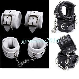 bdsm handcuffs BDSM Accessories Leather handcuffs in black color bondage leather cuffs