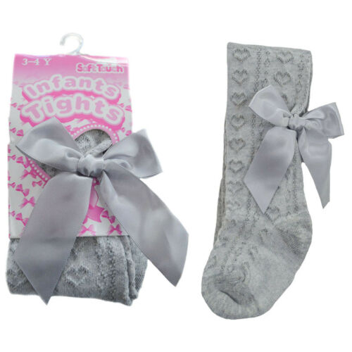 Baby /& Girls Spanish Style Jacquard Heart /& Bow Tights Soft Touch Up to 5 Years