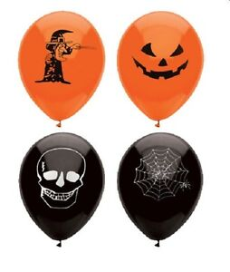 15-HALLOWEEN-BALLOONS-Skull-TRICK-TREAT-COBWEB-Decorations-PARTIES-PARTY-SPOOKY