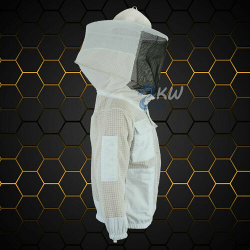 3 LAYER ULTRA VENTILATED BEEKEEPING JACKET PROTECTIVE ROUND VEIL XS to 5XL