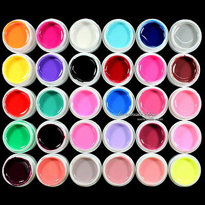 30 pcs Solid Pure Mix Different Color UV Builder Gel Cream Set for Nail Art Tips