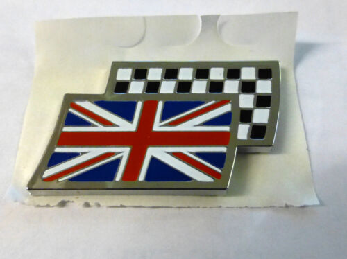 GENUINE BRAND NEW DAG000070MM MG CHEQUERED AND UNION JACK FLAG BADGE